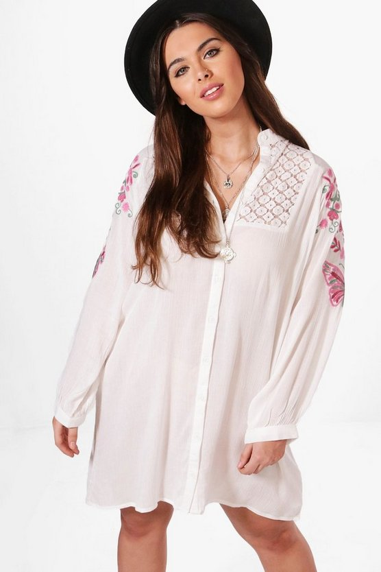 Plus Alice Lace Insert Embroidered Shirt Dress