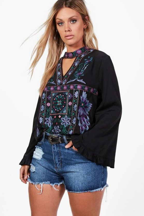 Plus Diana Embroidered Choker Smock Top