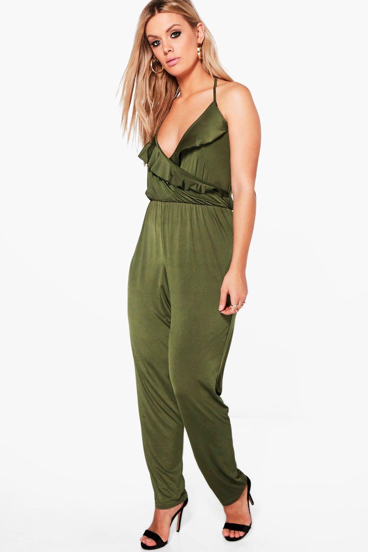 Sara Ruffle Front Slinky Jumpsuit  khaki