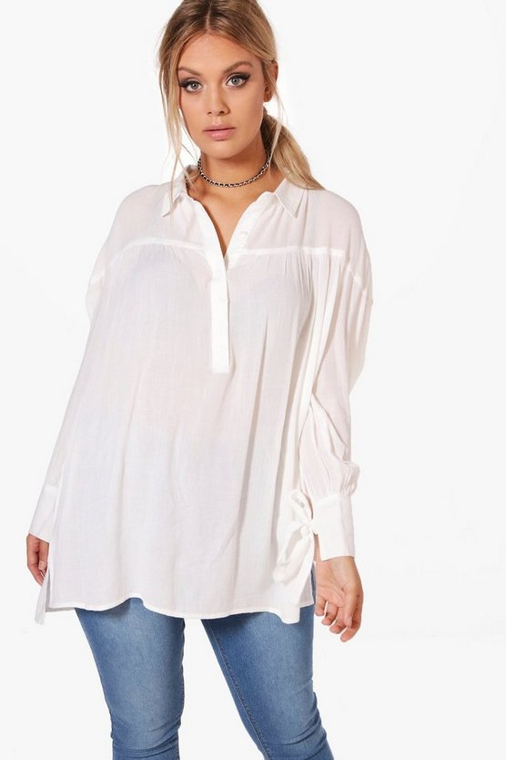 Plus Libby Woven Crinkle Tie Sleeve Shirt