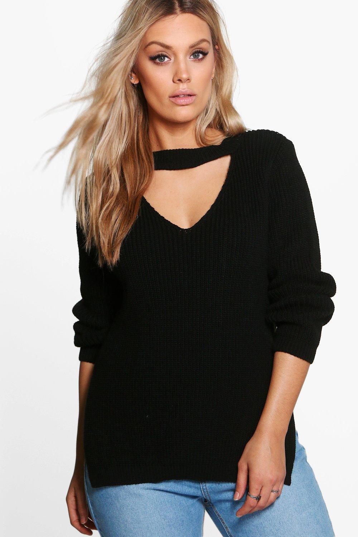Womens Plus Pullover mit Kropfband und seitlichem Schlitz - Schwarz - 42, Schwarz - Boohoo.com