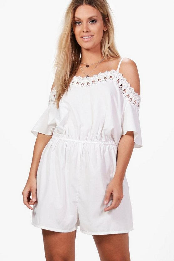 Plus Lilly Crochet Open Shoulder Playsuit