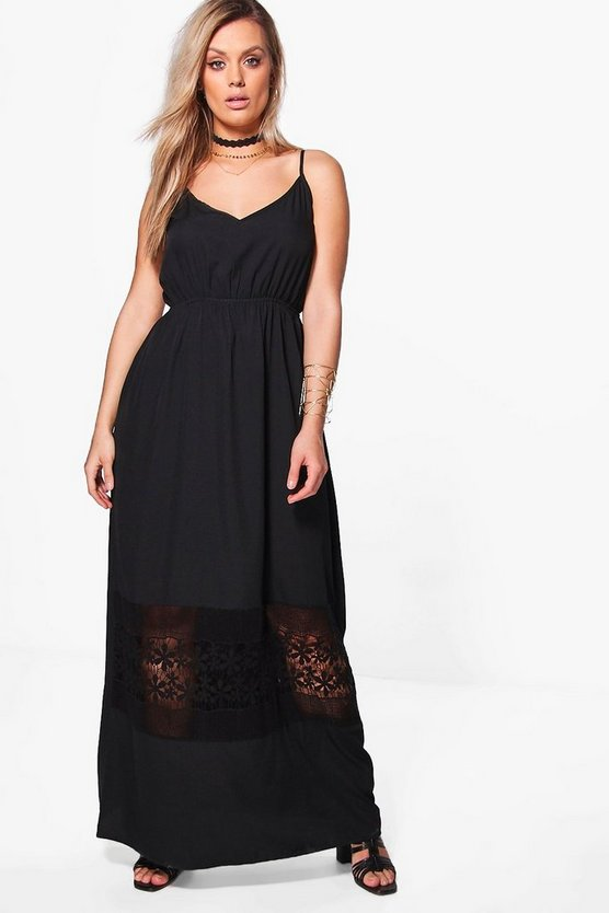 Plus Kara Crochet Insert Plunge Maxi Dress