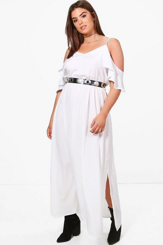 Plus Emma Open Shoulder Woven Maxi Dress