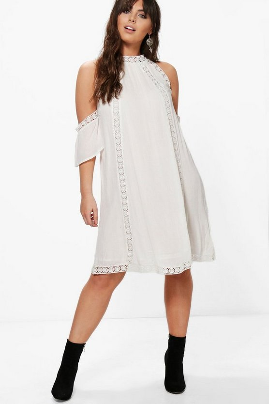 Plus Leah Crochet Lace Open Shoulder Shift Dress