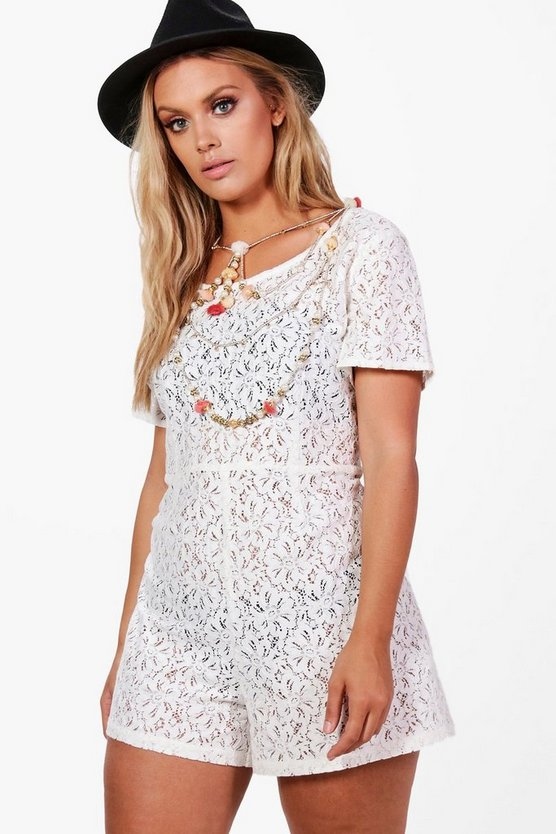 Plus Jessy Lace Pom Pom Detail Playsuit