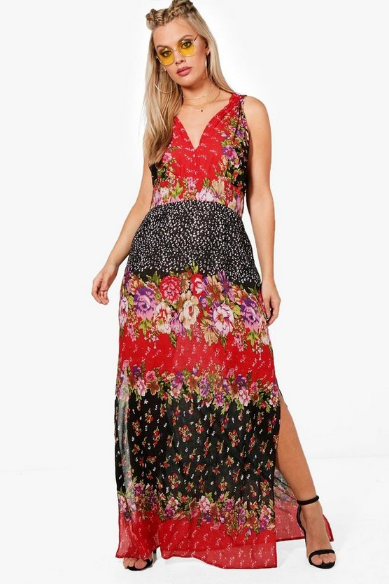Plus Jasmine Mixed Print Woven Maxi Dress by Boohoo