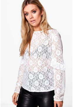 Plus Luanne Lace Ruffle Sleeve Top