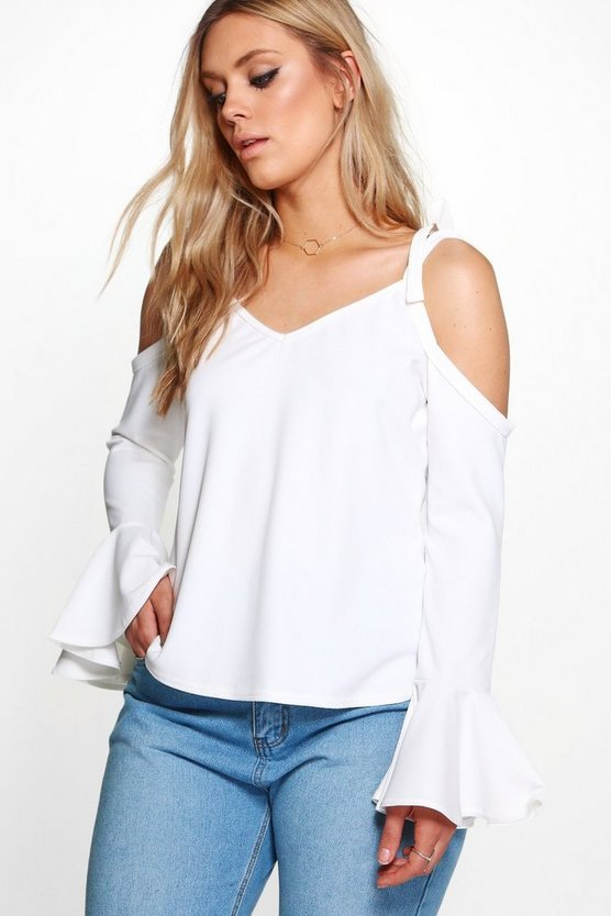 Plus Elise Tie Ruffle Sleeve Cold Shoulder Top