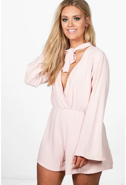 Plus Megan Tie Neck Crinkle Playsuit