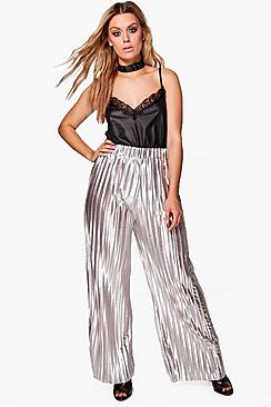 Plus Matilda Silver Premium Pleated Pant
