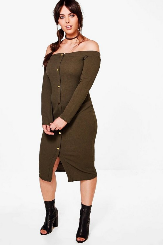 Plus Nicole Off The Shoulder Button Midi Dress