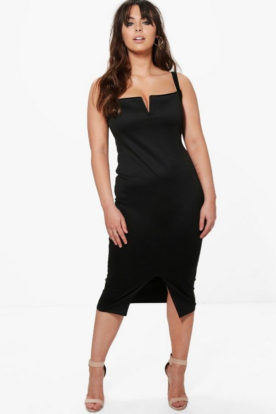 Plus Split Front Midi Dress
