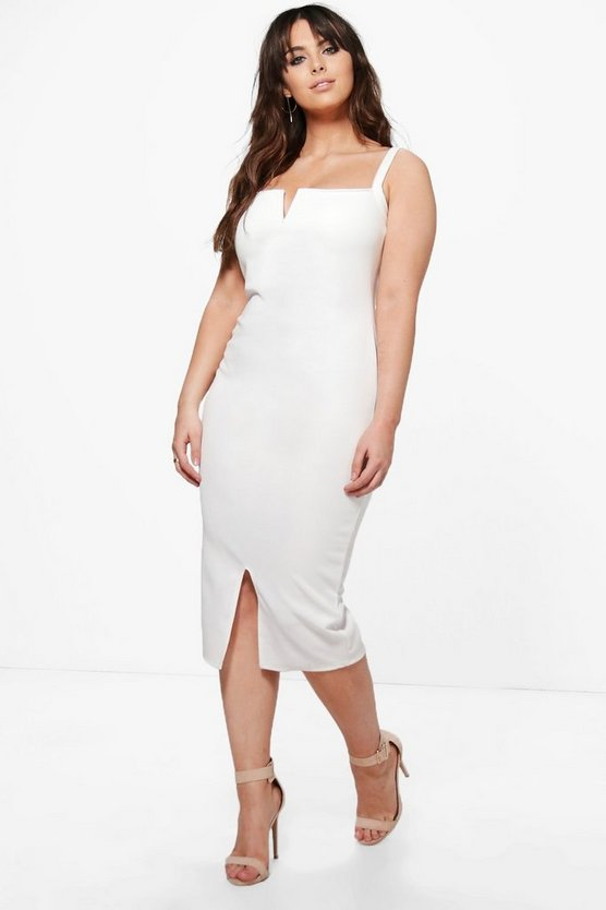 Plus Amber Split Front Midi Dress