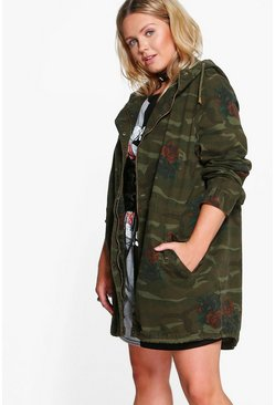 Plus Olivia Hooded Camo and Floral Parka