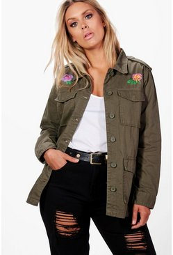 Plus Katy Floral Embroidered Twill Jacket