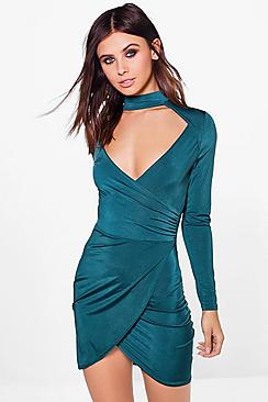 Petite Emma Choker Long Sleeve Wrap Front Dress