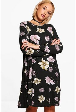 Plus Naomi Dark Floral Print Swing Dress