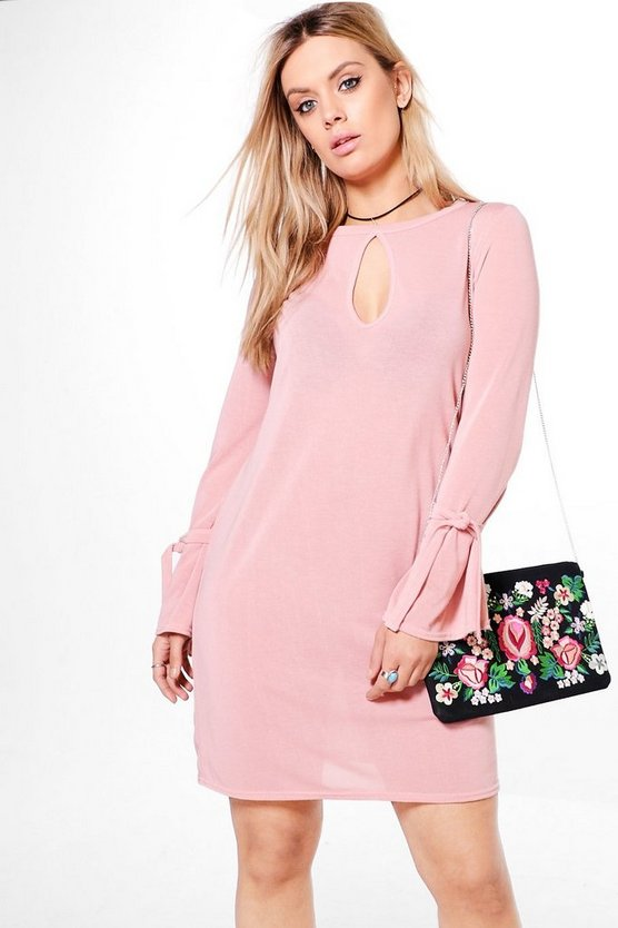 Plus Georgie Tie Wide Sleeve Bodycon Dress