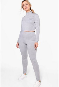 Plus Holly High Neck Lounge Crop Top and Legging