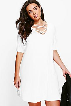 Plus Laura Cross Front Swing Dress