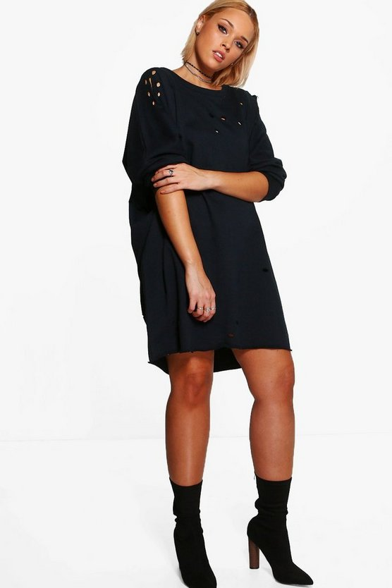 Plus Danielle Distressed Sweat Dress