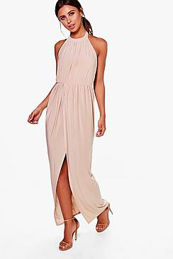 Petite Paige High Neck Drape Maxi Dress