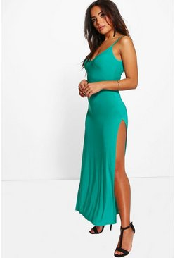 Petite Martha Strappy Thigh Split Slinky Maxi Dress