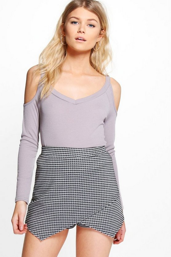 Petite Gracie Open Shoulder V Neck Rib Top
