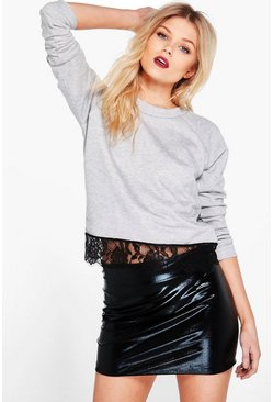 Petite Shauna Lace Hem Crew Neck Sweat