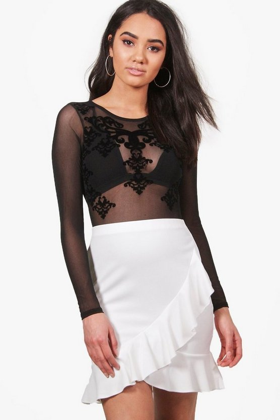 Petite Lauren Wrap Frill Detail Mini Skirt