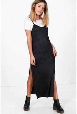 Petite Hayley 2 in 1 Suedette Maxi Slip Dress