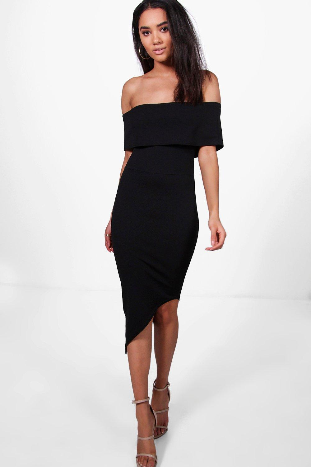 Willow Asymmetric Bardot Bodycon Dress  black