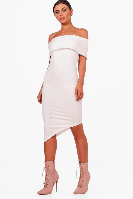 Petite Willow Asymmetric Bardot Bodycon Dress