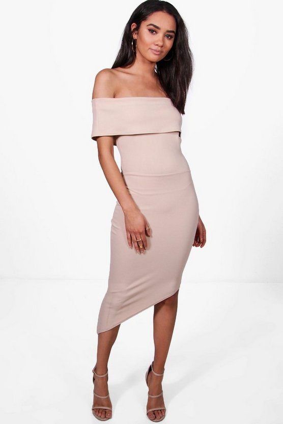 Petite Asymmetric Bardot Bodycon Dress