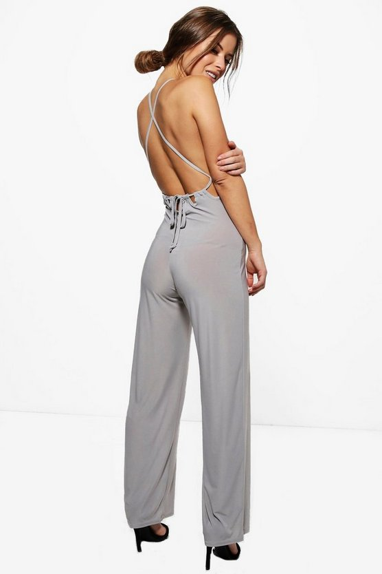Petite Tia Strappy Open Back Wide Leg Jumpsuit