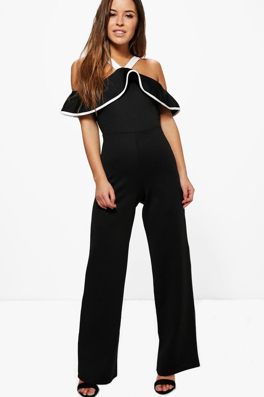 Melissa Ruffle Detail Halter Jumpsuit  black