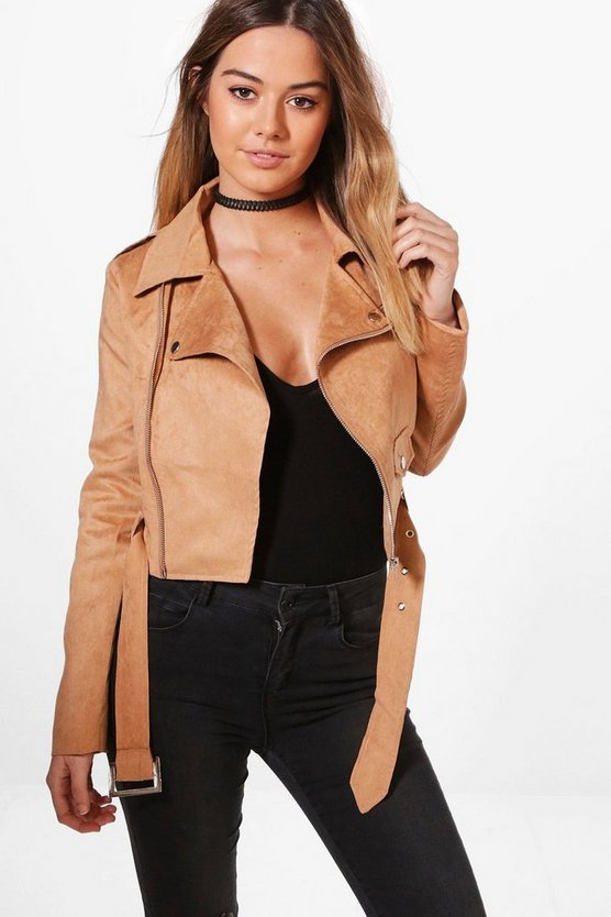 Petite Holly Belted Suedette Biker Jacket