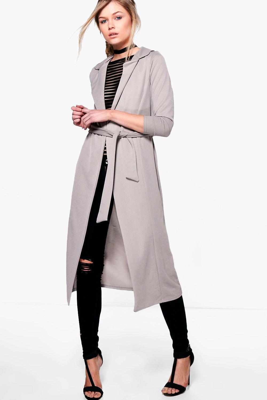 Boohoo Womens Petite Jessica Tie Waist Collar Duster Ebay