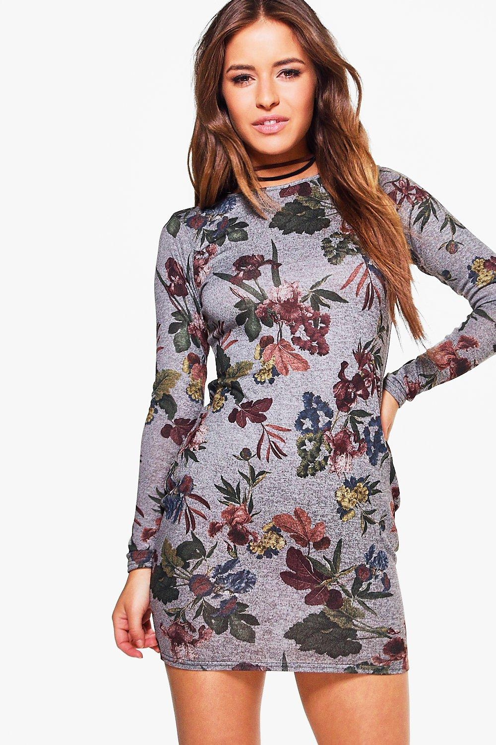 Petite Lucy Floral Printed Knitted Bodycon Dress