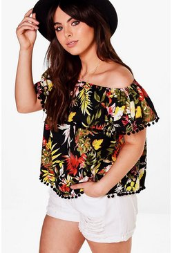 Plus Amy Tropical Off The Shoulder Pom Pom Top