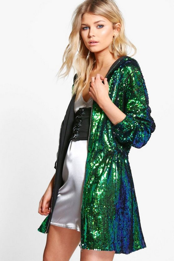 Petite Claire Sequin Hooded Parka