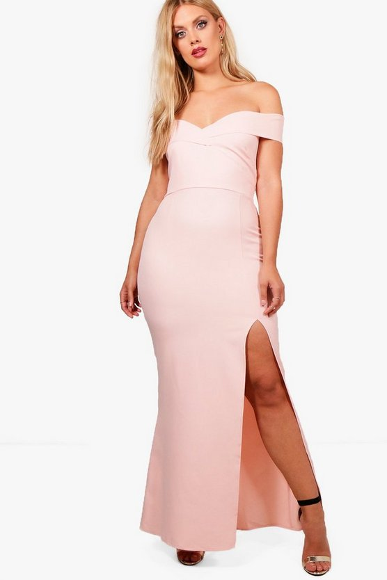 Plus Marie Off The Shoulder Bodycon Maxi Dress