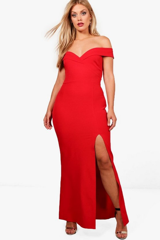 Plus Off The Shoulder Bodycon Maxi Dress