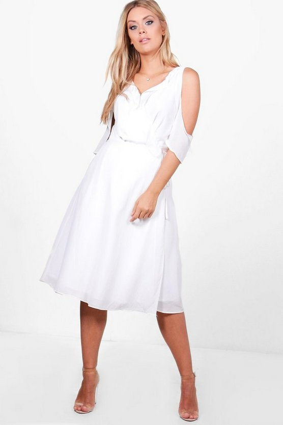 Plus Lydia Chiffon Frill Cold Shoulder Midi Dress