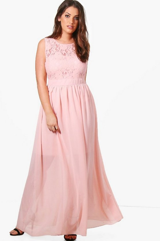 Plus Katherine Lace Bodice Maxi Dress