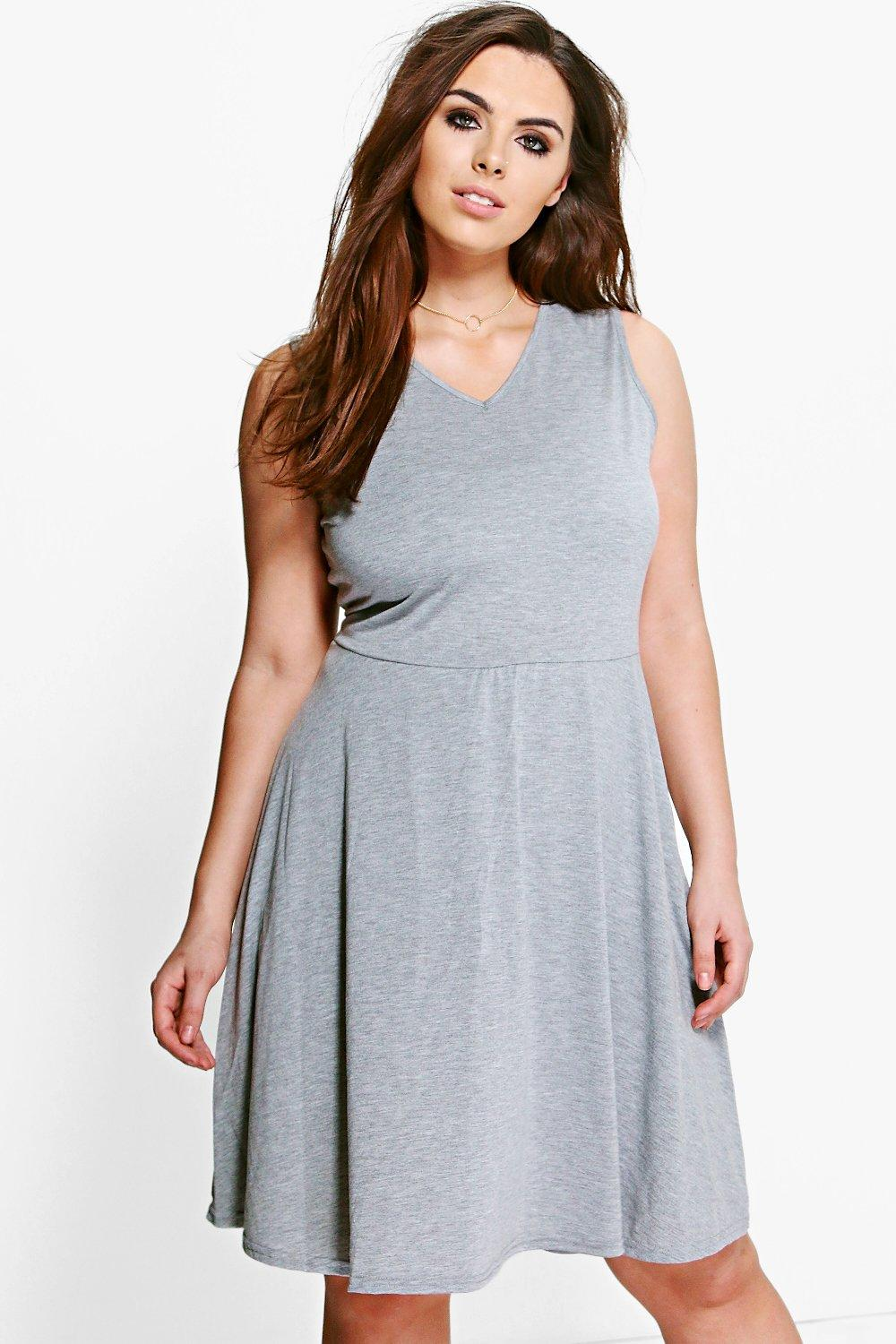 Plus Gemma V Neck Skater Dress