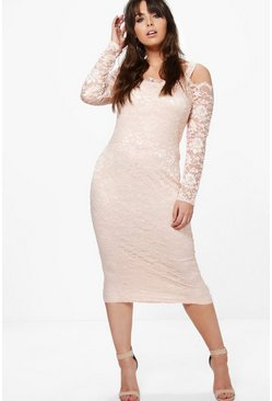 Plus Lottie Lace Open Shoulder Skater Dress