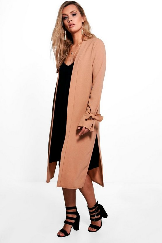 Plus Natalie Tie Sleeve Duster Jacket