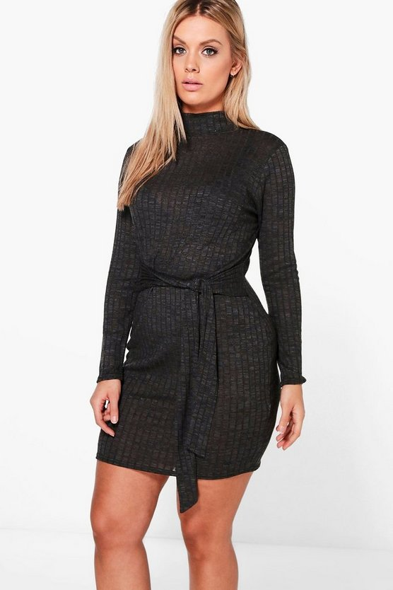 Plus Ivy High Neck Knitted Rib Tie Waist Dress